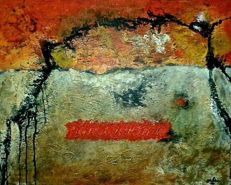 D14-05 (Paysage interieur) Jan.2014 Acryl op doek 80 x 100 cm Expo De Pook 2014