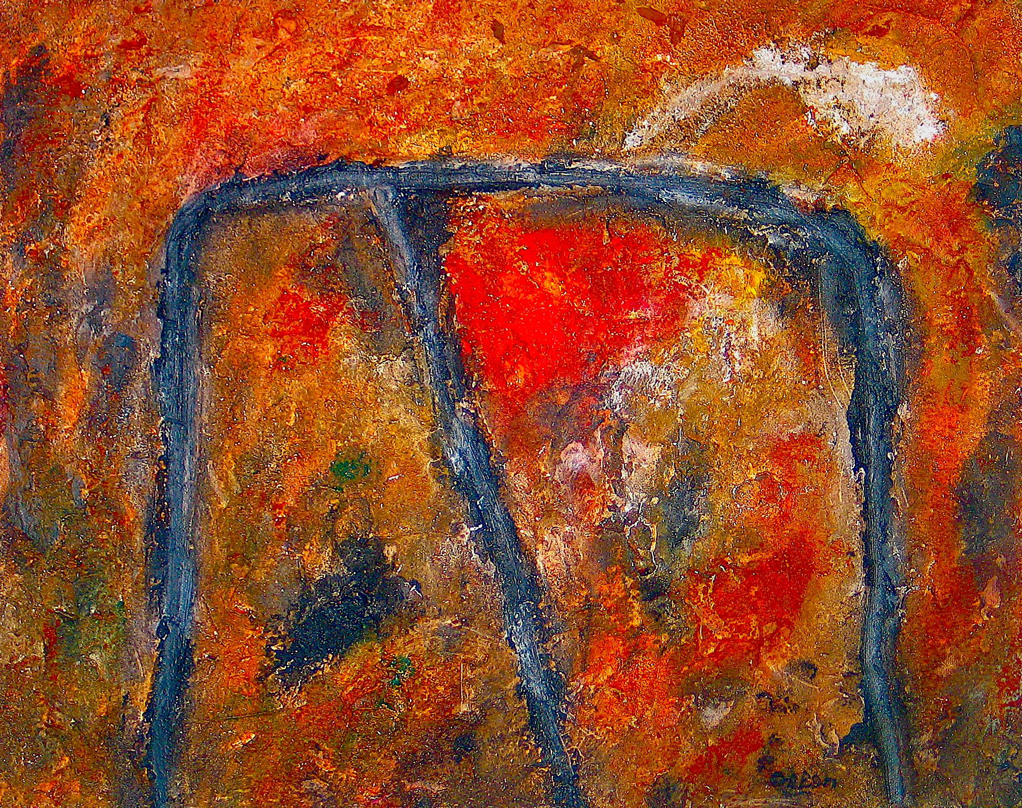 D09-20 Roquebrune#2 V-2009 Gemengde techniek op doek 40 x 50 cm